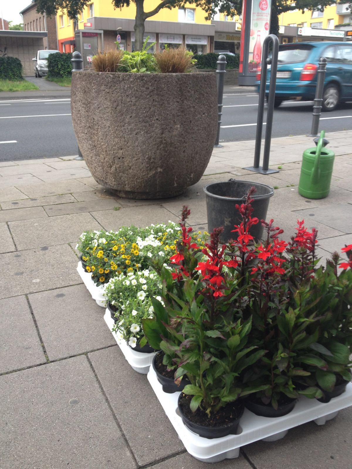 mehr grünflächen in urbach: neue beton-kübel verschönern